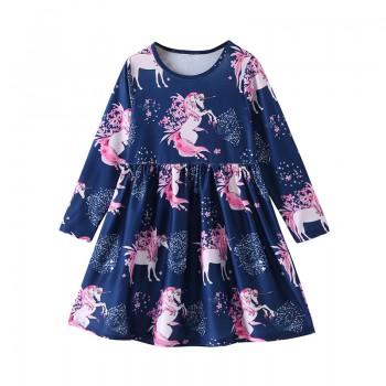 Beautiful Unicorn Print Long-sleeve Dress for Toddler Girl and Girl