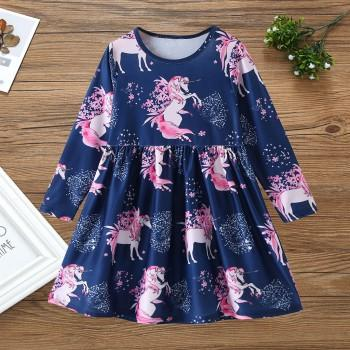 Beautiful Unicorn Print Long-sleeve Dress for Toddler Girl and Girl