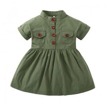 Vintage Ruffled Short Sleeves Shirt Dress in Green for Baby Girl