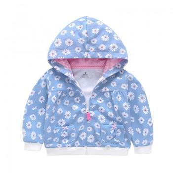Lovely Flower Print Hooded Jacket in Blue for Baby Girl