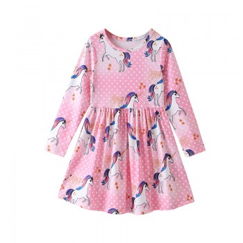 Pretty Dotted Unicorn Patterned Long-sleeve Dress for Toddler Girl and Girl