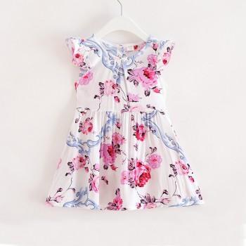 Lovely Flower Print Ruffled Cap-sleeve Dress for Toddler Girl and Girl