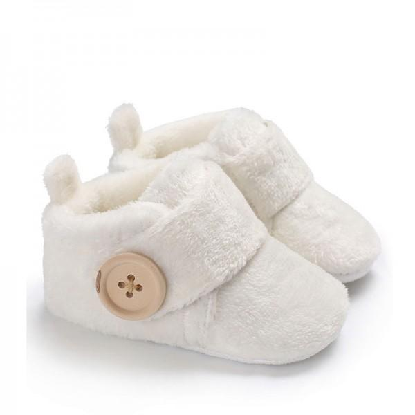 Comfy Solid Plush Crib Shoes for Toddler