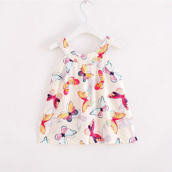 Pretty Butterfly Print Sleeveless Dress for Toddler Girl and Girl