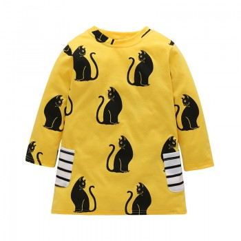Cute Cat Print Long-sleeve Dress in Yellow for Toddler Girl