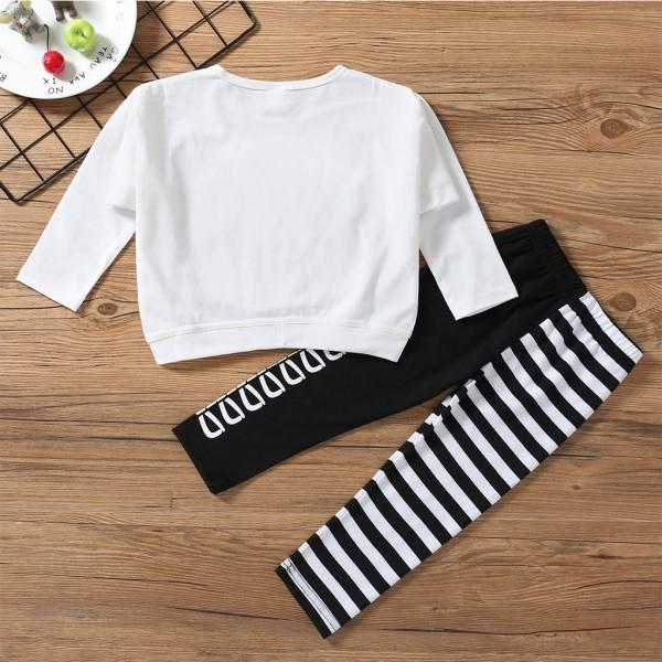 2-piece Bear Sequines Applique White T-shirt and Stripes Trousers for 3-8 Years Girls