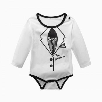 Cool Printed Solid Long Sleeves Bodysuit for Baby Boy