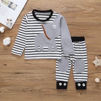 Stylish Striped Appliqued Elephant Long-sleeve T-shirt and Reinforced Knee Pants Set in Grey for Baby Boy