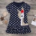 Cute Polka Dots Deer Print Short-sleeve Dress for Toddler Girls and Girls
