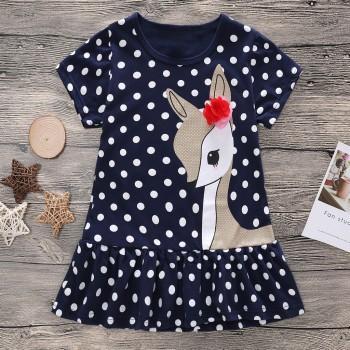 Cute Polka Dots Deer Print Short-sleeve Dress for Toddler Girls and Girls