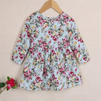 Pretty Floral Cinched Long-sleeve Dress for Toddler Girl and Girl