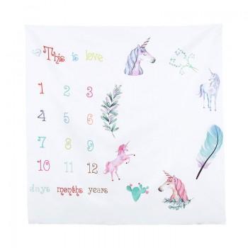 Unicorn Print Calendar Blanket