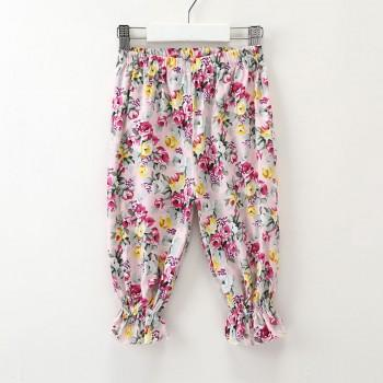 Pretty Floral Elastic Waist Pants for Toddler Girl and Girl