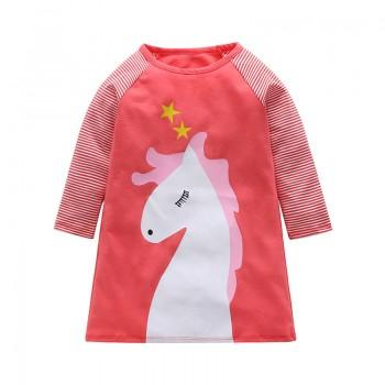 Unique Striped Unicorn Print Long-sleeve Dress for Toddler Girl and Girl