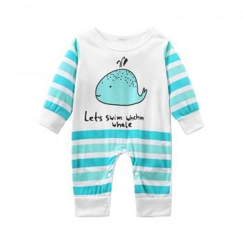 Cute Whale Print Striped Long Sleeves Jumpsuit for Baby Boy