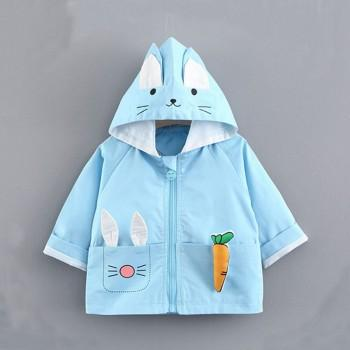 Lovely Rabbit Design Long-sleeve Hooded Coat for Baby Girl