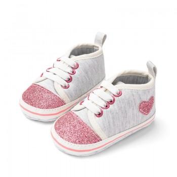 Stylish Glitter Heart Decor Elastic Canvas Shoes for Baby and Toddler