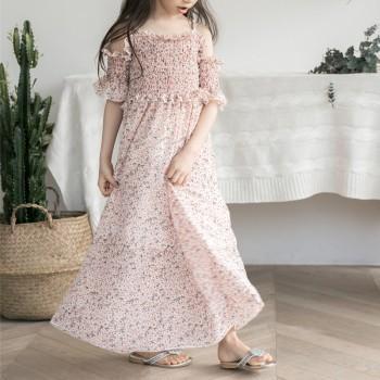 Pretty Floral Cold Shoulder Elasticity Maxi Dress