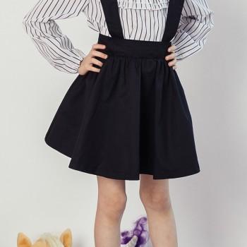 Girl's Trendy Solid Strap Skirt in Black