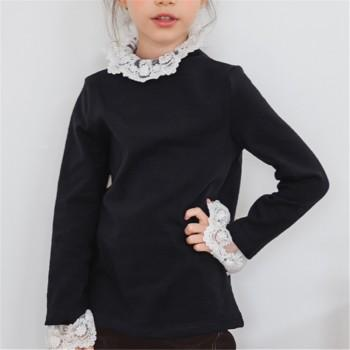 Fashionable Solid Lace Splicing Long-sleeve T-shirt for Toddler Girl and Girl
