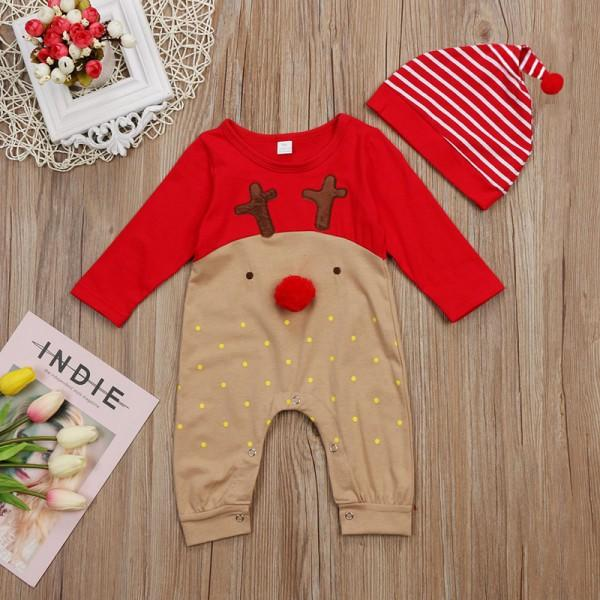Lovely Long-sleeve Wapiti Patterned Jumpsuit for Baby