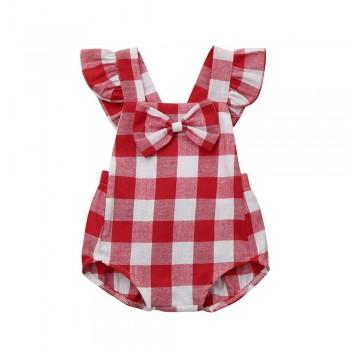 Bright Plaid Backless Bodysuit for Baby Girl