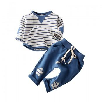 Fresh Striped Long sleeve pullover and Pants Set for Baby Boy