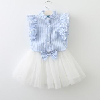 2-piece Sweet Striped Ruffled Tee and Bowk Decor Tutu Skirt for Baby Girl and Girl