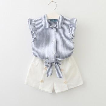 Fresh Striped Bowknot Decor Shirt and Shorts Set for Toddler Girl