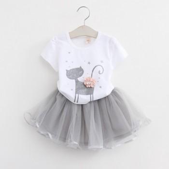 Lovely Short-sleeve Cat Print T-shirt and Tulle Skirt Set for Baby Girl and Girl