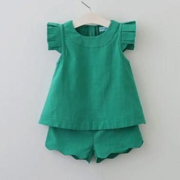 2-piece Trendy Solid Ruffled Sleeves Top and Shorts Set for Girls