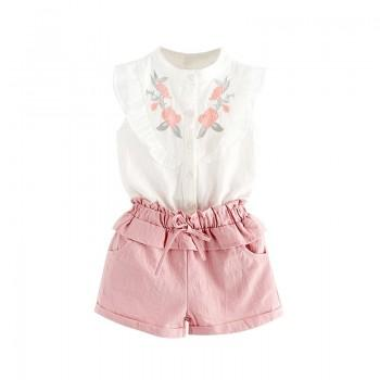 Sweet Ruffled Flower Embroidery Sleeveless Tee and Shorts Set for Girls