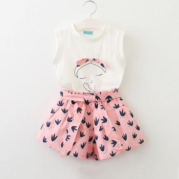 2-piece Sweet Girl Print Tank Top and Floral Shorts Set for Girls