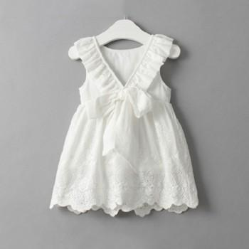 Elegant Backless Bow Lace Dress for Baby and Toddler Girl