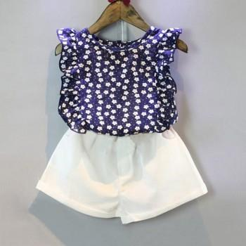 Fresh Floral Ruffled Tank Top and Shorts Set for Girl