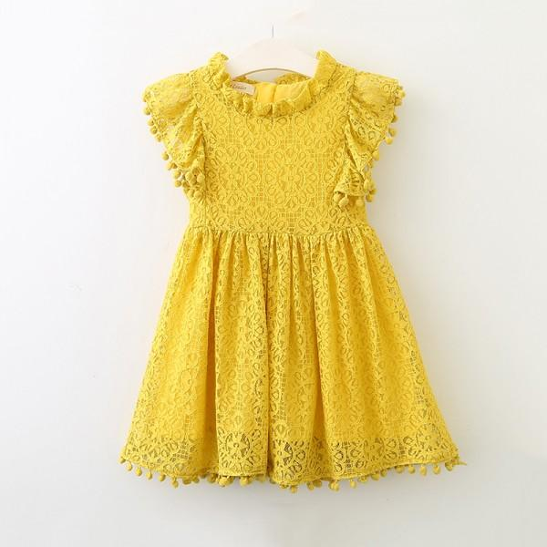 Elegant Cutout Lace Short-sleeve Dress for Toddler Girl