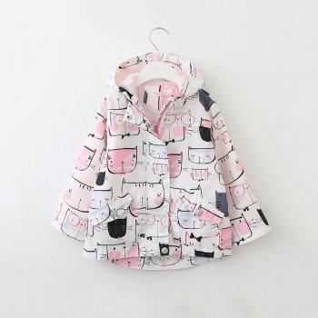 Pretty Cat Pattern Hooded Coat for Toddler Girl and Girl
