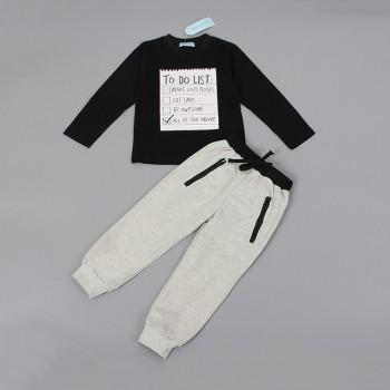 2-piece Cool Long-sleeve Letter Top and Pants Set for Boys