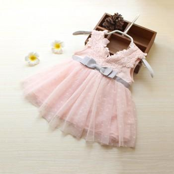 Baby Girl's Solid Bowknot Lace Tulle Dress