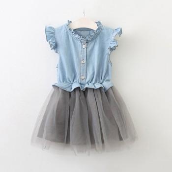 Pretty Denim Flutter-sleeve Tee Stitching Tulle Skirt for Toddler Girl and Girl