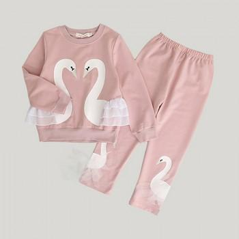 Pretty Swan Print Long-sleeve Tee and Leggings Set for Toddler Girl and Girl