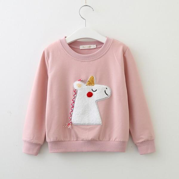 Trendy Appliqued Unicorn Pullover for Toddler Girl and Girl