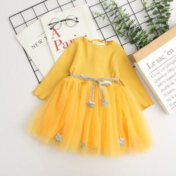 Beautiful Star Decor Long-sleeve Tulle Dress with Belt ( exclude bag)