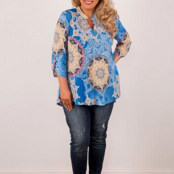 Casual Floral Print V-neck Long Sleeve Tee in Blue for Women