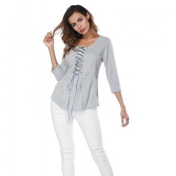 Women Sweet Lace Lace-up 3/4 Sleeve Tee in Grey