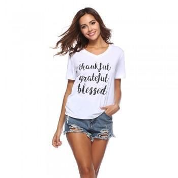 Comfy GRATEFUL Print V-neck Short-sleeve T-shirt for Women