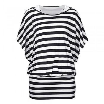 2-piece White Tank Top and Bat Sleeves Stripes Tunics for Women