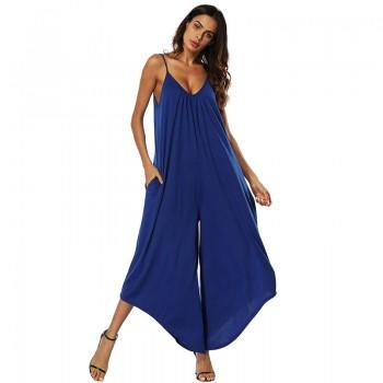 Stylish V-neck Loose Slip Jumpsuit for Women