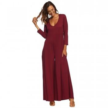 Stylish Solid Long-sleeve Jumpsuit