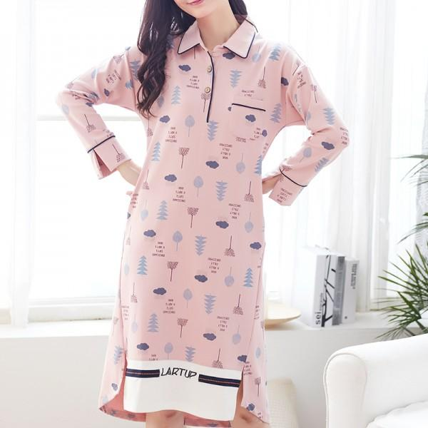 Women Cloud and Tree Print Long-sleeve Cotton Pink Nightgown | PatPat